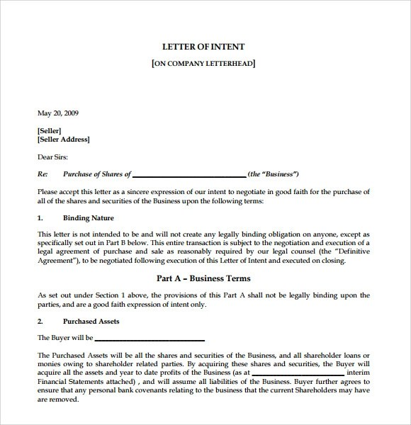 Letter Of Intent To Start A Business  Docoments Ojazlink