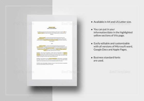 16 Printable Lease Agreement Templates Download for Free   Sample     Sample Office Lease Agreement Template