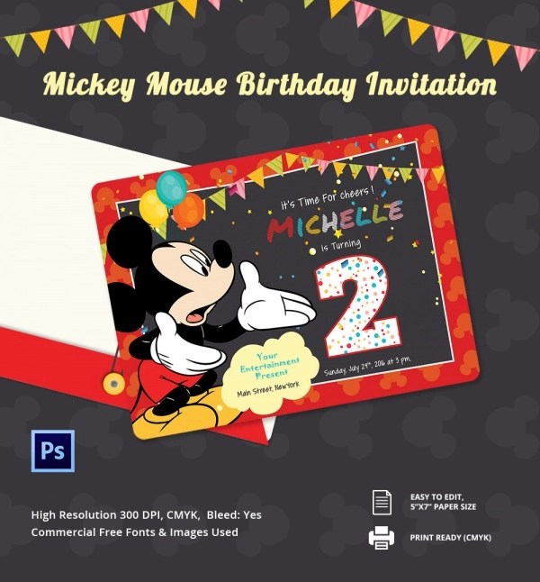 Free 8 Sample Mickey Mouse Invitation Templates In Pdf Psd Ms Word