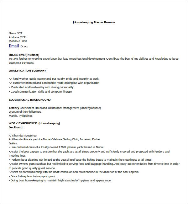 Housekeeper Resume Sample. Housekeeping Aide Resume Sample Hotel