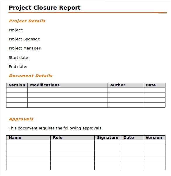 Project Closure Template project closure report doc doc project – Project Closure Report Template