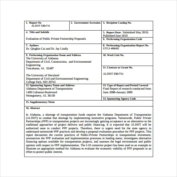 Proposal Template  Government Contract Proposal Template  Free