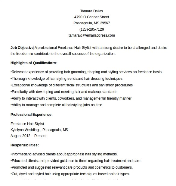 Resume Freelance Hair Stylist