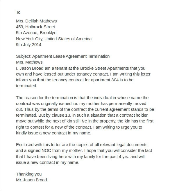 Apartment Lease Termination Letter Sample  Nice Apartement