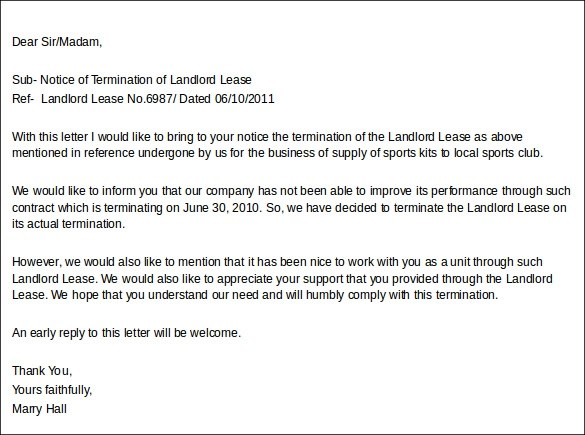 Landlord Lease Termination Letter Sample To Tenant  Docoments