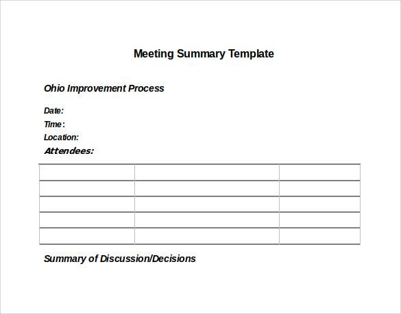 Meeting Templates Word sample meeting summary template 11 free – Meeting Summary Template Word