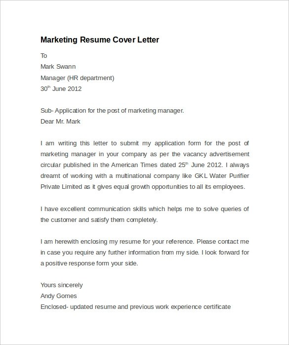 Resume Cover Letter Example 8 Download Documents In PDF Word