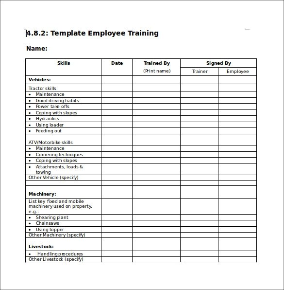 training checklist template 7 download documents in pdf word