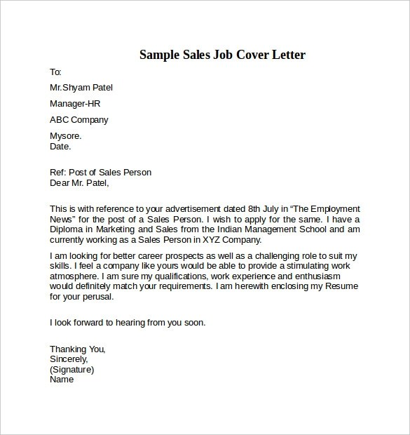 cover letter example for sales position