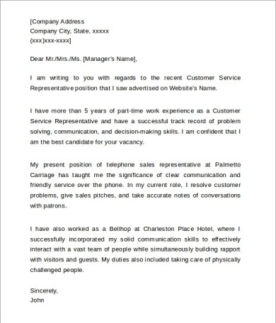 Entry Level Customer Service Cover Letter. Customer Cover Letter