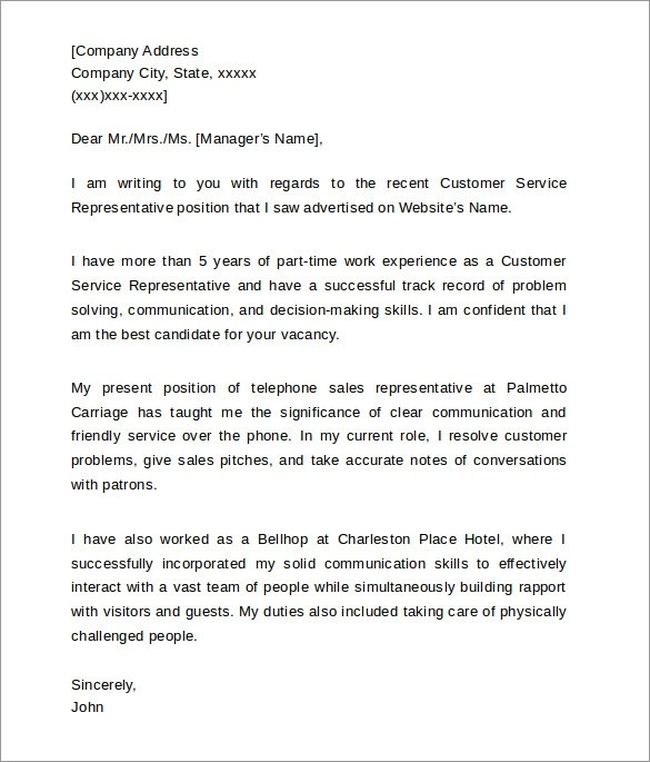 Cover Letter For Clinical Dietitian  Entry Level Customer Service Cover Letter