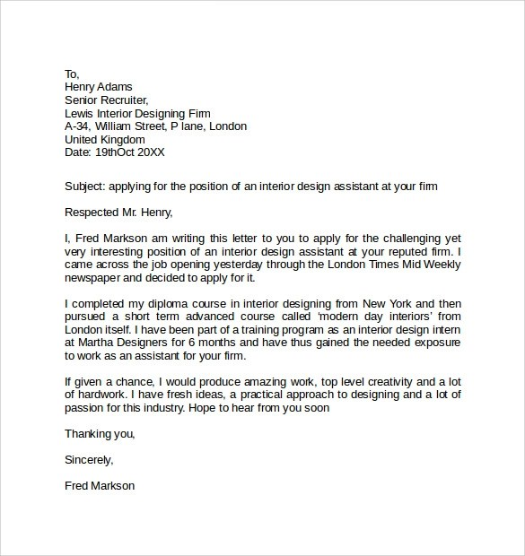 Free 9 Simple Cover Letter Examples In Pdf Ms Word