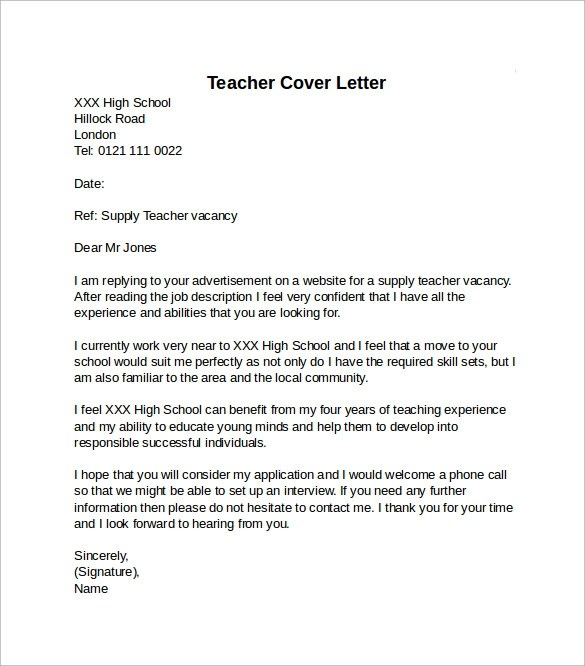Examples Of Cover Letters For High School Teachers - Cover Letter ...
