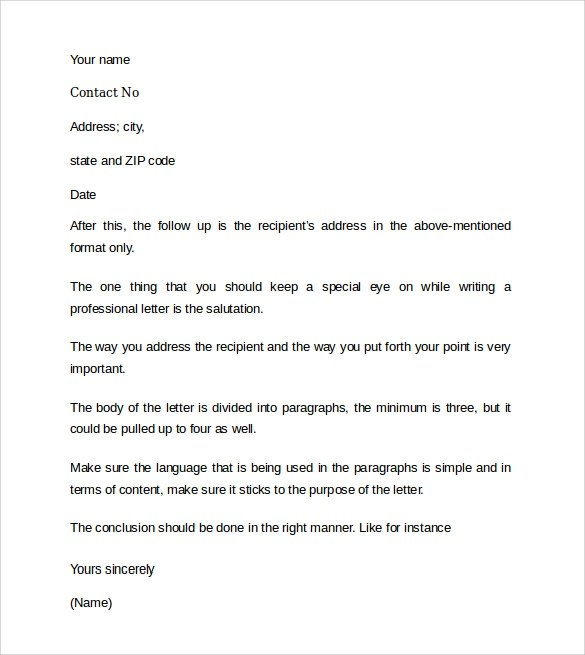 professional cover letter example 9 free documents in pdf word
