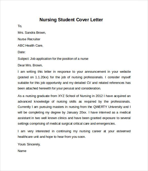 Nursing Student Cover Letter Sample - Cover Letter Templates