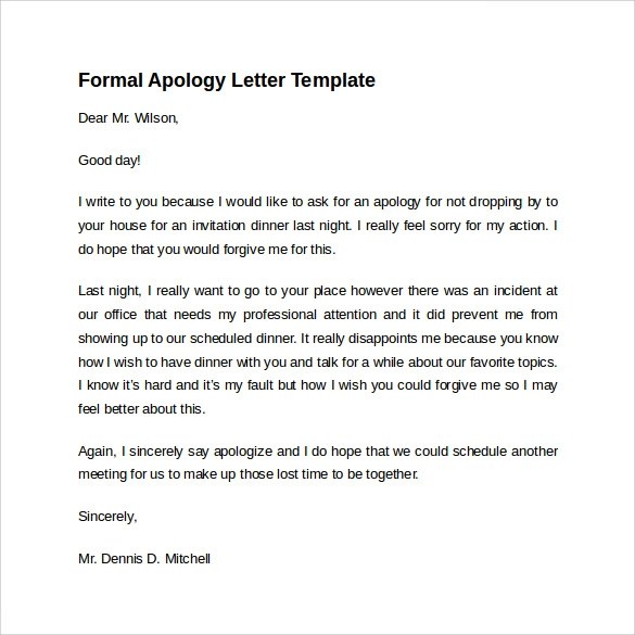Formal Apology Template. Best Photos Of Formal Business Apology