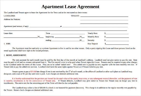 Sample Apartment Lease Agreement