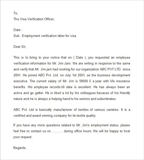 employment verification letter 14 free doents in - Employment Proof Letter