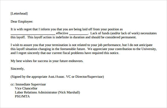Employee Separation Notice Template