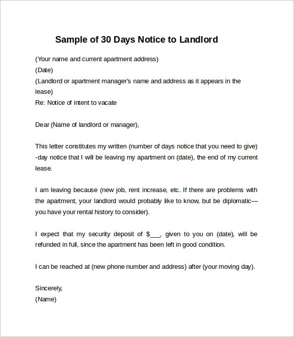 Sample 30 day notice to vacate apartment nice apartement 30 day notice templates free spiritdancerdesigns Image collections