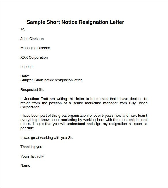 short notice resignation letter template template