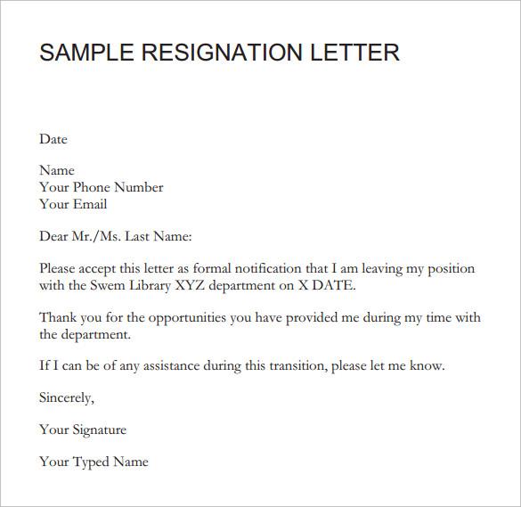 sample 2 weeks notice resignation letter cv resume samples