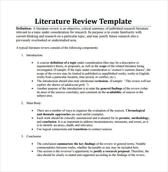 Apa Format For Literature Review Example