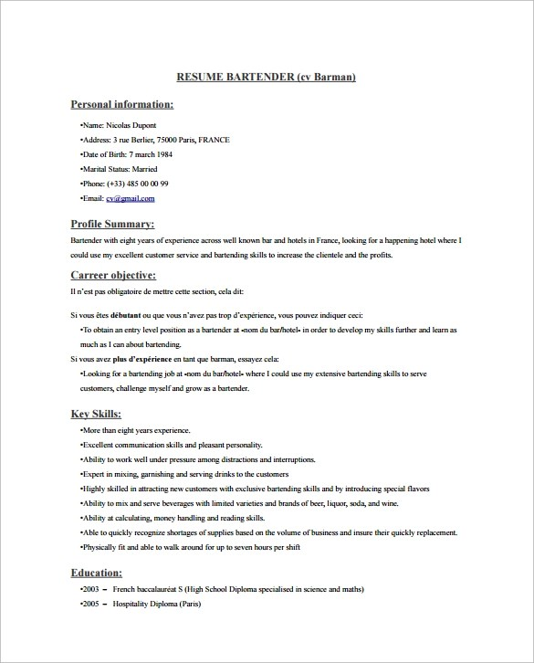 job description of a bartender for resume