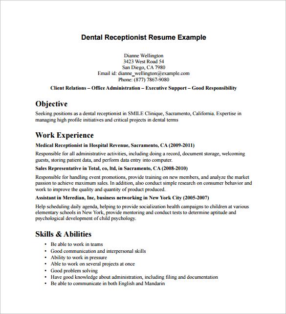 Receptionist Resume Samples Resume Sample Receptionist Or Medical
