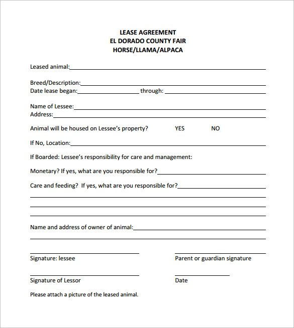 Doc585685 Sample Horse Lease Agreement Template Sample Horse – Sample Horse Lease Agreement Template
