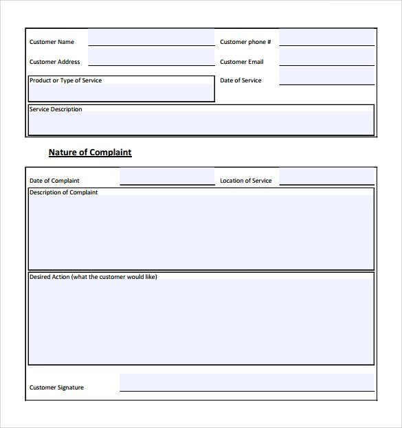 Doc460595 Customer Complaints Form Template Customer – Customer Complaints Form Template