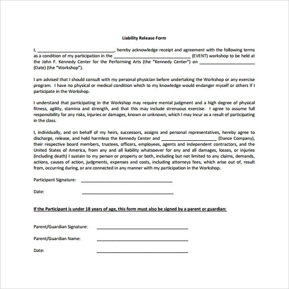 Liability Template liability release form sample liability – General Liability Release Form