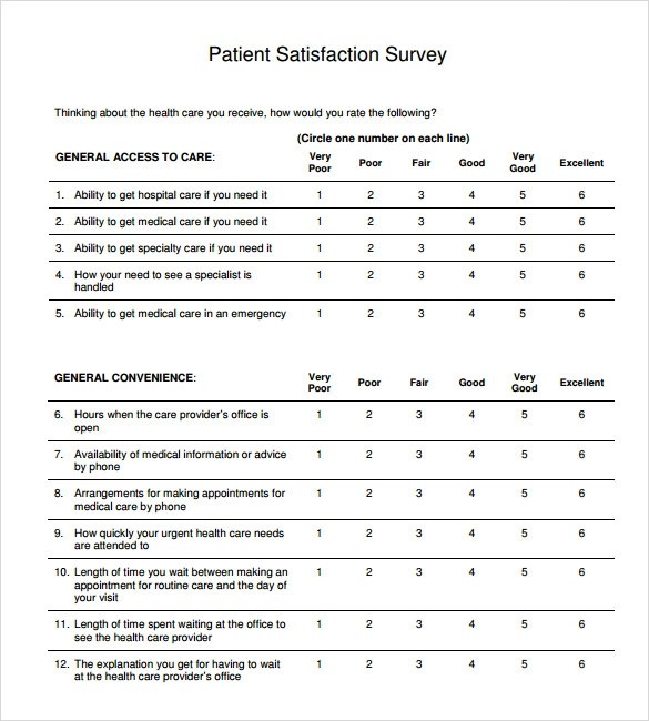 Sample Patient Satisfaction Survey 10 Documents In Pdf Word