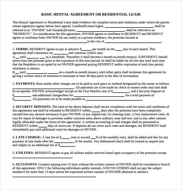 Sample Generic Rental Agreement 6 Free Documents In PDF Word