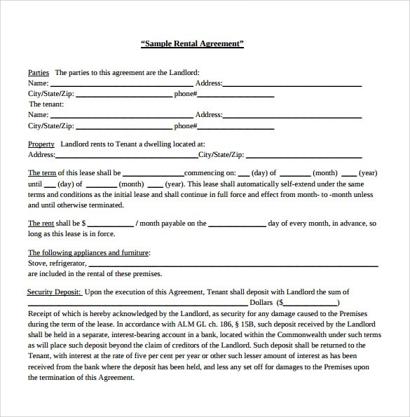 7 Generic Rental Agreement Templates To Download Sample Templates