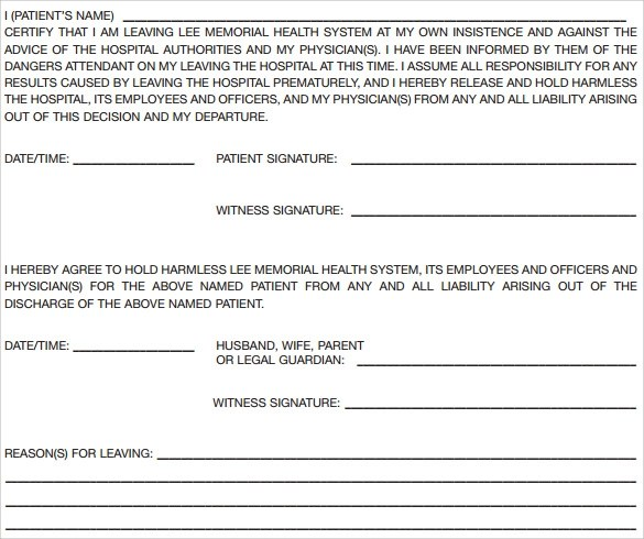 8 Against Medical Advice Forms To Download Sample Templates