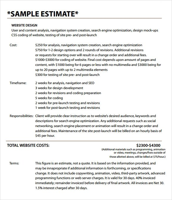 Sample Estimate Invoice Template 10 Download Documents