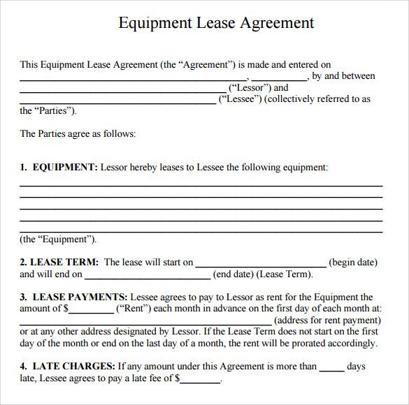 Sample Equipment Rental Agreement Template 15 Free