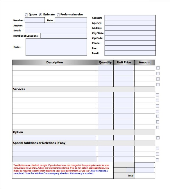 Invoice Estimate Template Operlyingfo