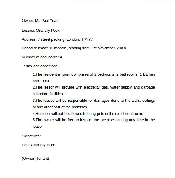 Sample Rental Agreement Letter Template 12 Free Documents In Word PDF