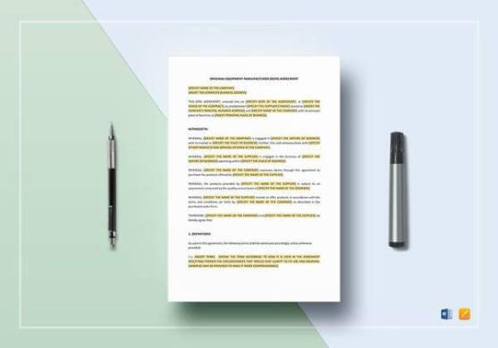 14  Equipment Rental Agreement Templates   Sample Templates OEM Agreement Template in Word