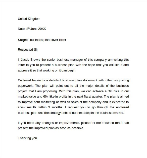 Writing Business Plan Cover Letter  Business Proposal Cover Letter
