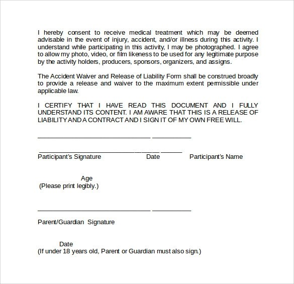 Free Liability Waiver Template release of liability property – Free Release of Liability Form