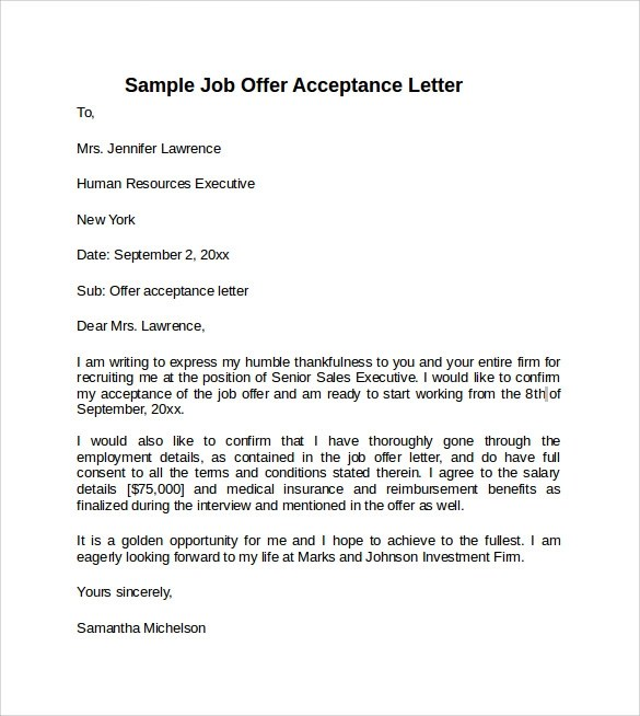Sample Offer Acceptance Letter 9 Download Free