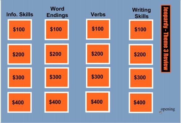 Sample Smart Board Jeopardy 6 Documents In PDF PPT