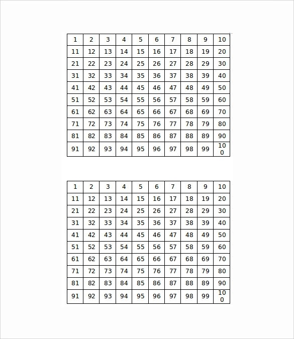 Number Chart Templates 8 Download Free Documents In PDF Word Sample Templates