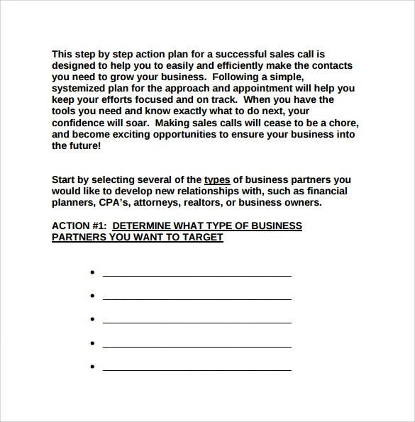 Sales Action Plan Template  free sales plan templates