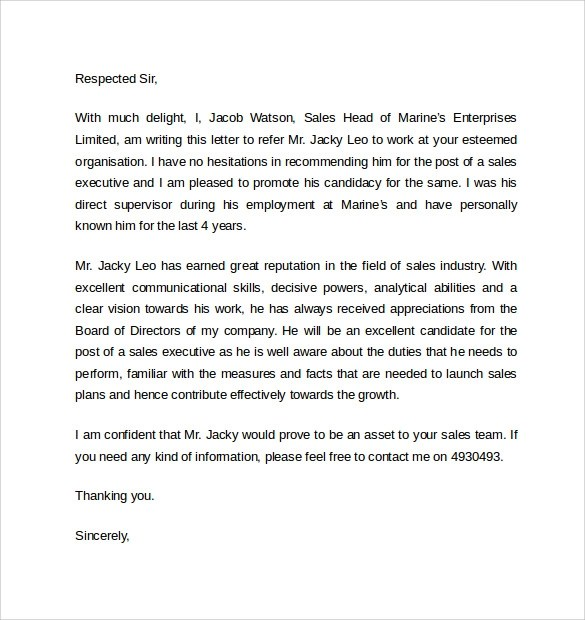 Work Reference Letters Samples Examples Amp Formats Sample Templates