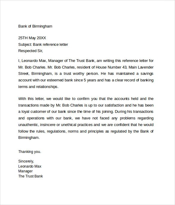 sample bank reference letter example jpg