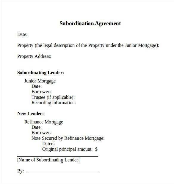Subordination Agreement Template sample mortgage agreement – Subordination Agreement Template